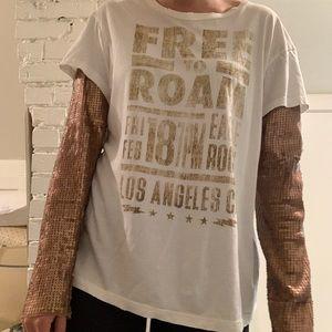 Free People Sequin sleeve layered tee